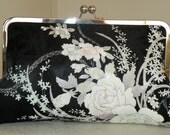 10 in Frame Clutch/Purse/Bag..Bridal Gift/Roses/Cherry Blossom/Orchids Bouquet..Long Island Wedding/Silk Kimono Fabric/Black/Lavendar/Pink