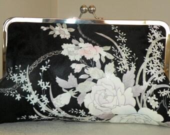 10 in Frame Clutch/Purse/Bag..Bridal Gift/Roses/Cherry Blossom/Orchids Bouquet..Long Island Wedding/Silk Kimono Fabric/Black/Lavendar/Pink