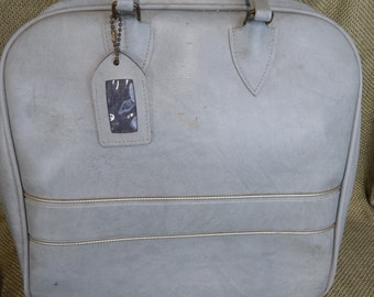 Vintage Bowling Bag Gray with Gold Piping