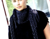 Chunky cotton triangle fringe scarf - Two tone Grey & Black