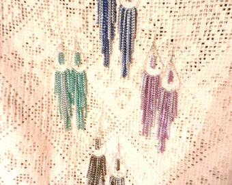 Teardrop Hoop  Beaded Charm Chain Long Dangle  Earrings  Many Colors
