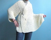 ONE SLEEVED knit WRAP for Women  Ivory Creamy White Big Unique, Ready to Ship