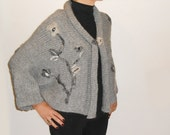 EMBROIDERED CARDIGAN Grey Rolled Edges Knit
