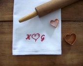 personalized tea towel / flour sack towel / embroidered / personalized / custom / heart / red and white / monogram / valentines
