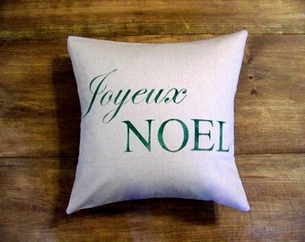 Christmas pillow cover / joyeux noel pillow / green / christmas decoration / french / hostess gift / gift idea / christmas pillo