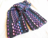 Pocket Scarf, Thick Winter Hometown Pocket Scarf, Woven Crochet - Artist Feature, Black, Pink, Purple, Blue