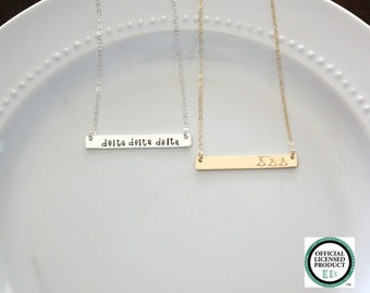 DELTA DELTA DELTA Necklace, Sorority Necklace, Sorority Jewelry, Sorority Bar Necklace, Tri Delta, Big Sis Little Sis Gift