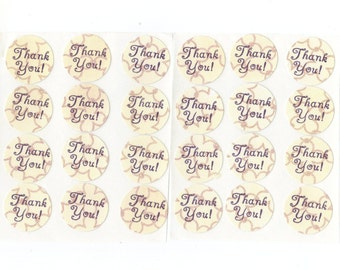 Thank You Envelope Seals Stickers (24) Package Decor / 1 Inch / (Set 3)