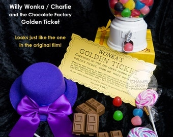 Willy Wonka Charlie and the Chocolate Factory Golden Ticket reproduction DIY Printable at home Template Birthday Party Film Roald Dahl