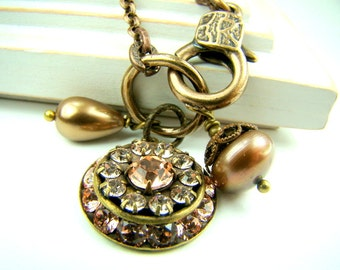Crystal pendant necklace, bronze chain charm necklace, swarovski crystal, brown pearls