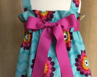 Mod Floral and Chevron Zadee Dress..... Girls Jumper.... Ziggie Daisies in Turquoise from Mosaica Fabric Collection by French Bull