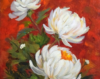 Still Life Painting, White Mums Red Background, A Study in Mum Flowers, Canvas Original by Cheri Wollenberg