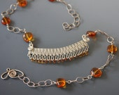Orange Sapphires and Amber Necklace - Sunset