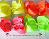 NEW ITEM----Simple X-Large 5.5 Inch Hair Bow Clip Lot----NEON