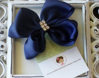 INVENTORY BLOWOUT SALE---Baby Toddler Girl Rhinestone Hair Bow 2.5 inch---Navy