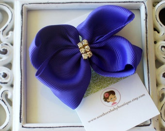 INVENTORY BLOWOUT SALE---Baby Toddler Girl Rhinestone Hair Bow 2.5 inch-----Purple