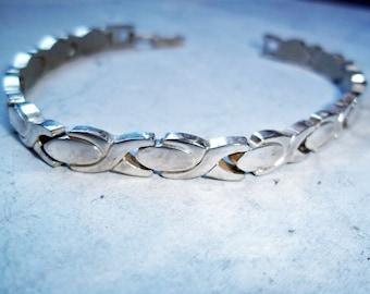 Vintage Mid-Century Modern Silvertone Link Bracelet / Industrial Look