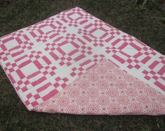 Antique Cotton Quilt with Pink Foullard Back