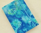 Batik Covered Pocket Memo Book, MORPHO , Refillable Mini Composition Notebook Cover in Blue and Green Butterfly Batik