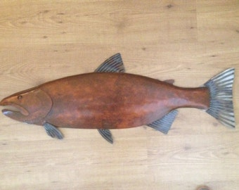 Salmon Fish  Metal  Wall Sculpture 36in Lodge Lake Cottage Cabin Art River