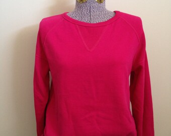 vintage hot PINK sweatshirt 80s 1980 small fuchsia