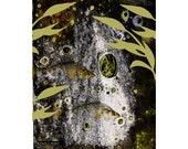 Swimming Fish Art, Olive Green Gray, Citra Solv Design, Mixed Media Photomontage, Aquatic Wall Hanging, Home Decor, Giclee Print, 8 x 10