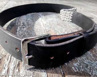 Belt - Chainmaille Leather - Black