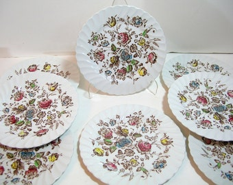 Johnston Bros. Staffordshire Bouquet Set Of Eight Salad Plates