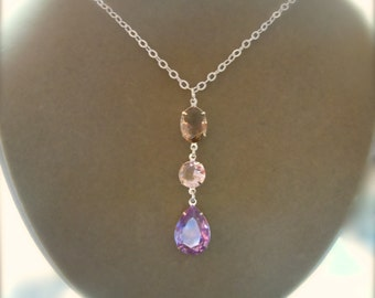 NEW MARKDOWN: Violet, Peach and Light Topaz Crystal Focal Necklace -- Customizable