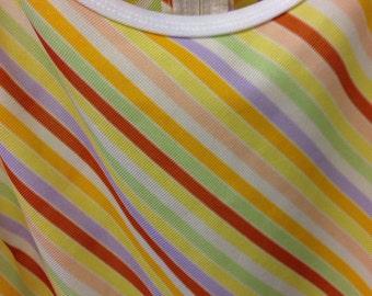 Stripe Polyester Dress 1970s Fruit
