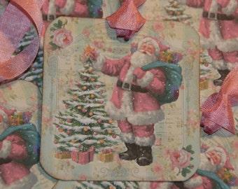 Pink Santa Tags,  Christmas Tags, Merry Christmas Gift Tags, Holiday Tags, Pink Christmas