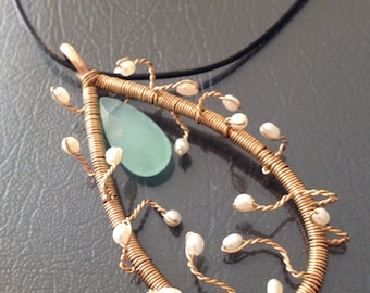 14kt Gold Filled Wire Wrapped Chalcedony Pearl Necklace