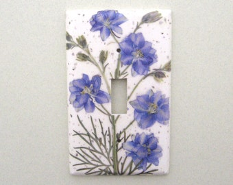 Blue larkspur single lightswitch cover switchplate