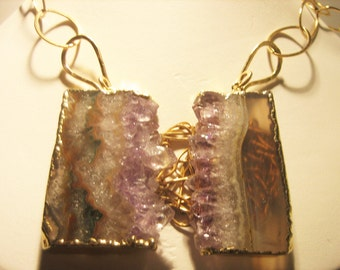 Amethyst and agate slice pendant