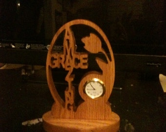 Wooden amazing grace desk clock