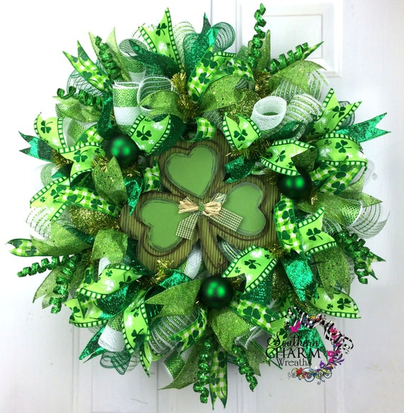 deco mesh st patricks day wreath st patrick 39 s day decor. Black Bedroom Furniture Sets. Home Design Ideas