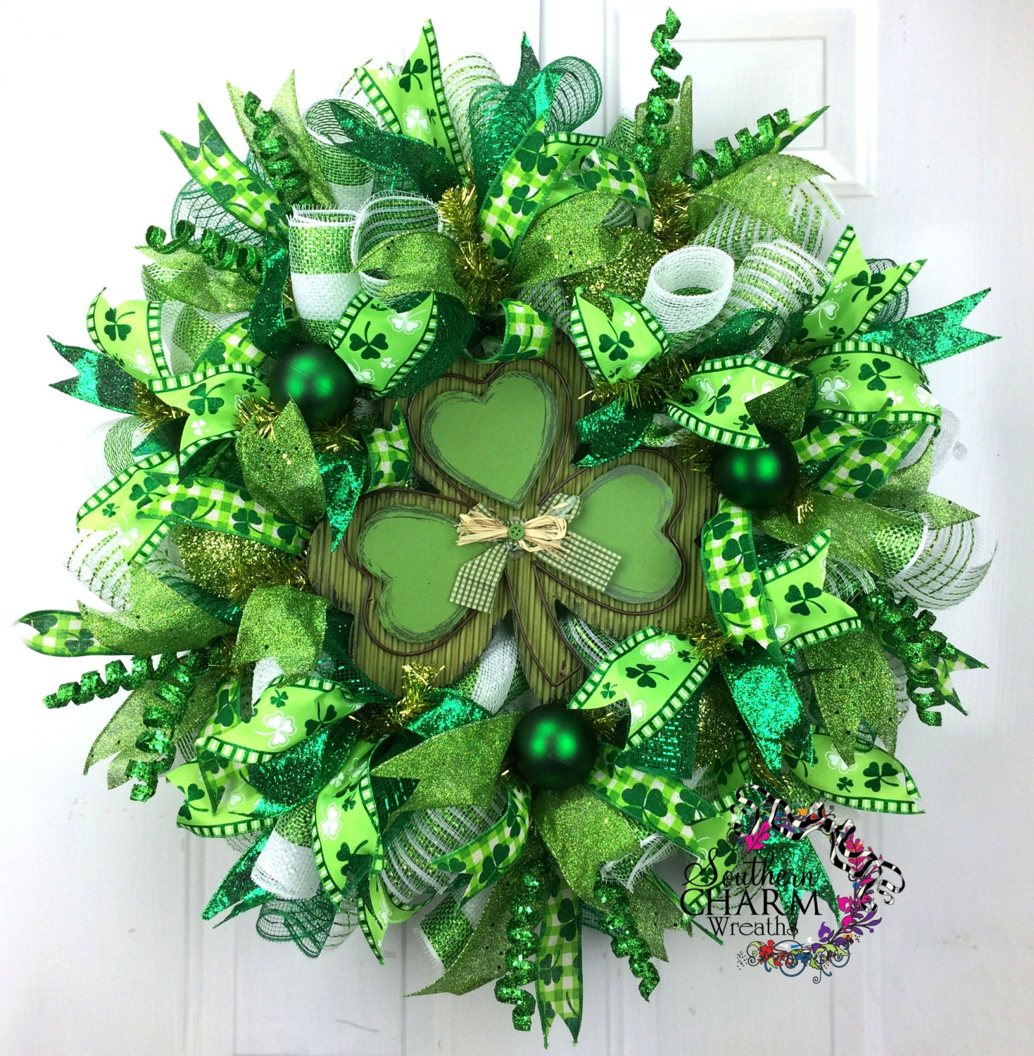 Deco mesh st patricks day wreath st patrick 39 s day decor for Deco decorations