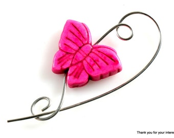 Hot Pink Butterfly Shawl Pin, Scarf Pin,  Brooch -  Butterfly Animal Pin