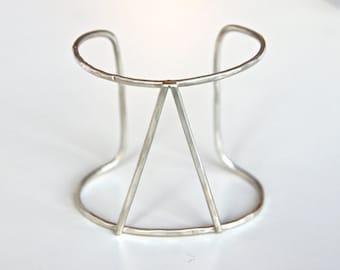 Sterling Silver Geometric Double Cuff - Open Double Cuff - Recycled Metal Bracelet - Modern Cuff Bracelet - Triangle Cuff Bracelet