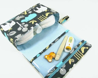 Baby boy diaper bag, animal print diaper clutch, baby bag, grey diaper purse with clear zipper pouch, baby shower gift