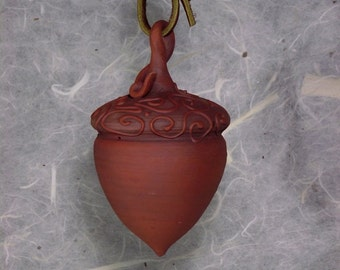 Earthenware clay acorn ornament, ooak