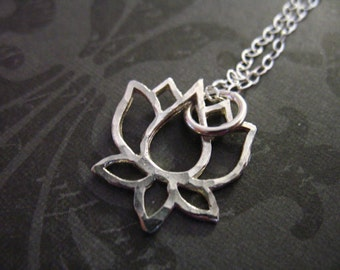 Lotus pendant etsy 1 5 10 pcs lotus pendants charms sterling silver lotus flower outline hammered mozeypictures Image collections