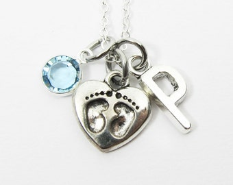 It's a Boy Necklace - Gender reveal, maternity, baby necklace, Personalized Initial Name, Customized Swarovski crystal birthstone