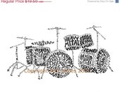 Drum Kit Typography Art Print, Musical Instrument Art, Rock n Roll Art, Drum Set Art Illustration for Musicians, Drummers Gift, 8x10  Print