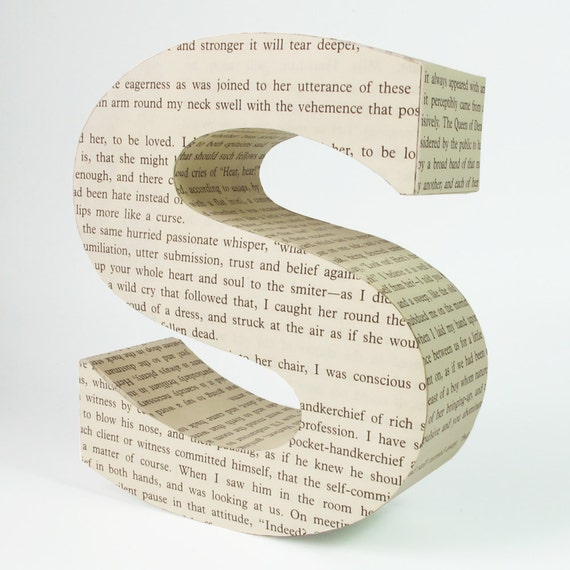 Read me - any letter from repurposed book page Made-to-order