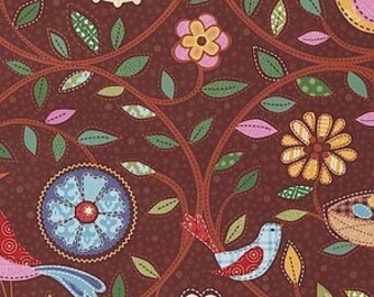 Flight of Fancy Birds in Circles in Brown by Me-O-My for Spectrix - 1 Yard
