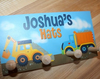 Bright Construction Truck HAT HOLDER - Personalized Hat Holder - Clothing Rack - Hat Organizer for Boys