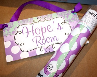 Purple and Green Damask and Polkad Dot Girls Bedroom Baby Nursery Door Sign Wall Art DS0234