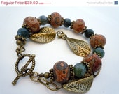 CHRISTMAS GIFT Sale Stone and Bronze Double Strand Bracelet by Debbie Renee, Agate, Beaded Strand, One of a Kind