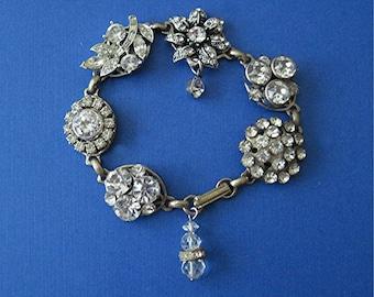 Vintage OOAK Rhinestone Earring Bracelet